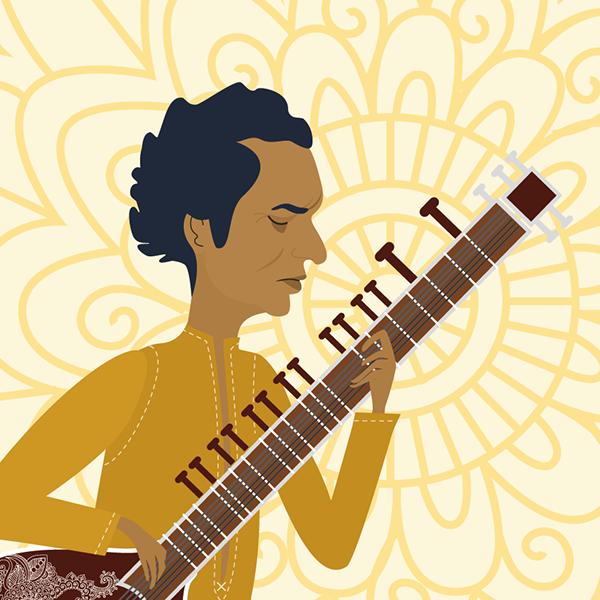 Ravi Shankar en Un Mundo de Tolerancia: la Historia de Yehudi Menuhin by:Lydilena