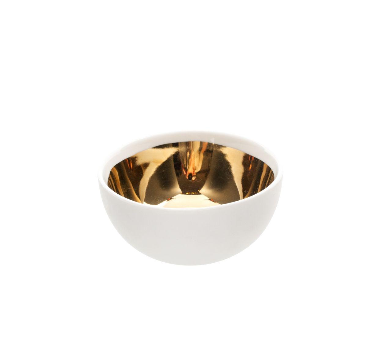 Large Dauville Bowl | Handmade porcelain bowl with glazed gold interior.