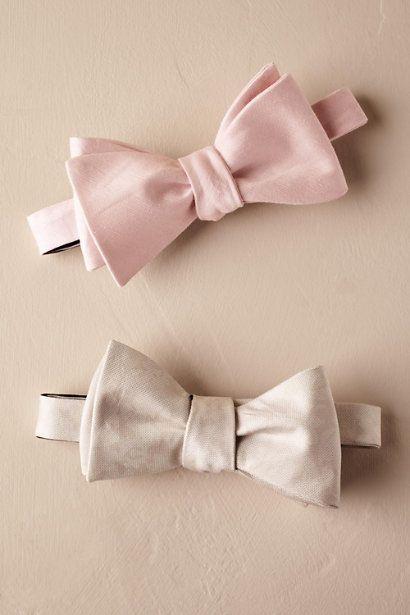 Neutral Tie Bar Bowtie ivory white blush pink groom groomsmen bowtie ...