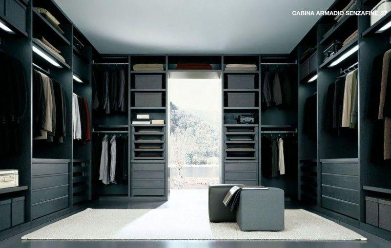 Black White Walk In Closet Design Interior Made From Solid Dark