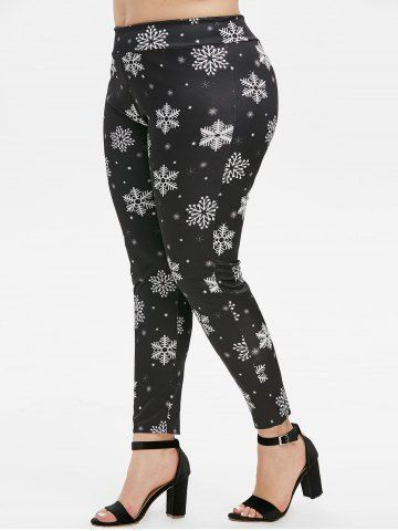 Photo of Plus Size Christmas Snowflake Print Leggings They Are Beautiful, Lovable …