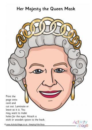 Queen Elizabeth Mask Queen Party Pinterest Queen Elizabeth - Childrens birthday cards for the queen