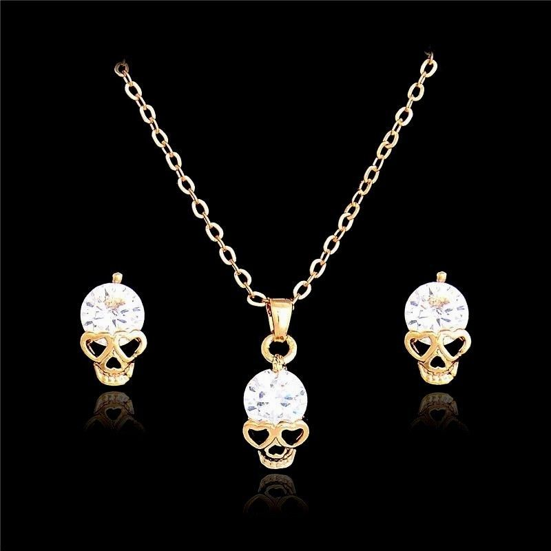 Womens Small Crystal Skull Heart Stud Earrings Necklace Set 10k Gold Plated Unbranded Heart Earrings Studs Skull Jewelry Crystal Skull