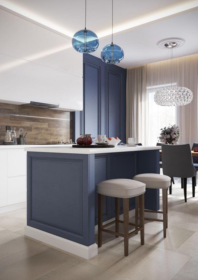 Pasztell kék, földszínek, szürke és fa kényelmes, modern