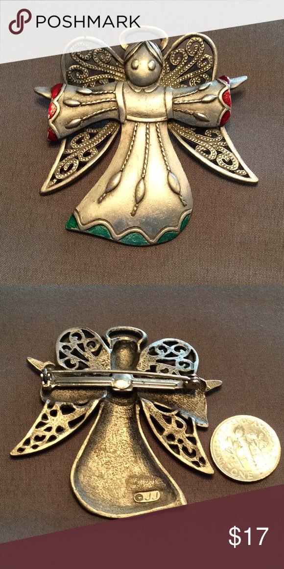 Vintage JJ Jonette Pewter Angelfish Brooch Pin