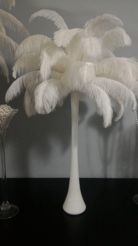 Ostrich Feather Centerpiece With White Eiffel Tower Vase Ostrich