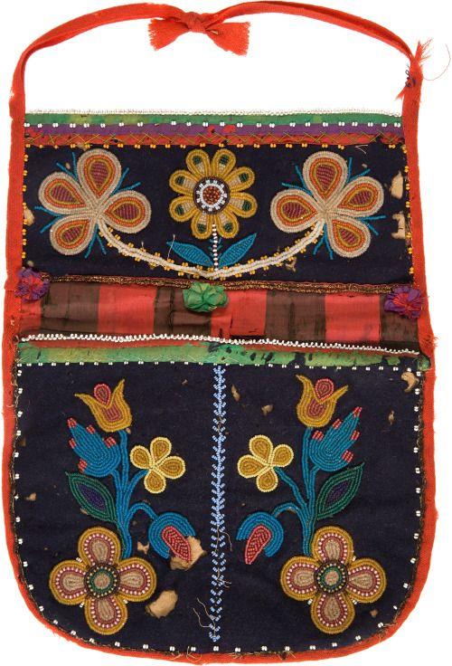 Beaded Sioux bag, on cloth, 1890.