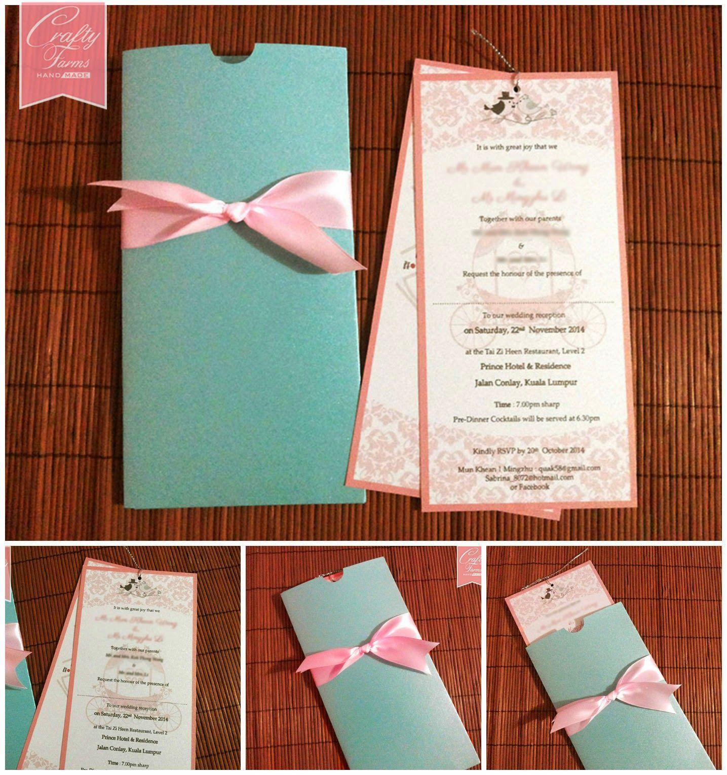 Pastel Themed Pocket Style Wedding Card