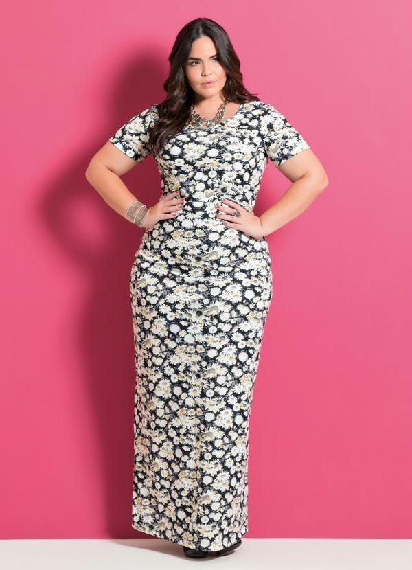 Vestido Longo Estampa Margaridas Plus Size - Posthaus | alfombra ...
