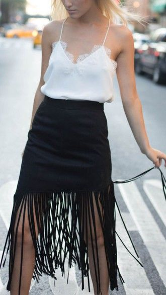 top cami top white top lace top summer outfits summer top skirt black skirt fringe skirt