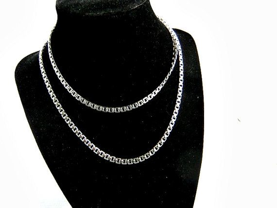 Vintage Monet Silvertone Box Link Necklace by ediesbest on Etsy, $14.99