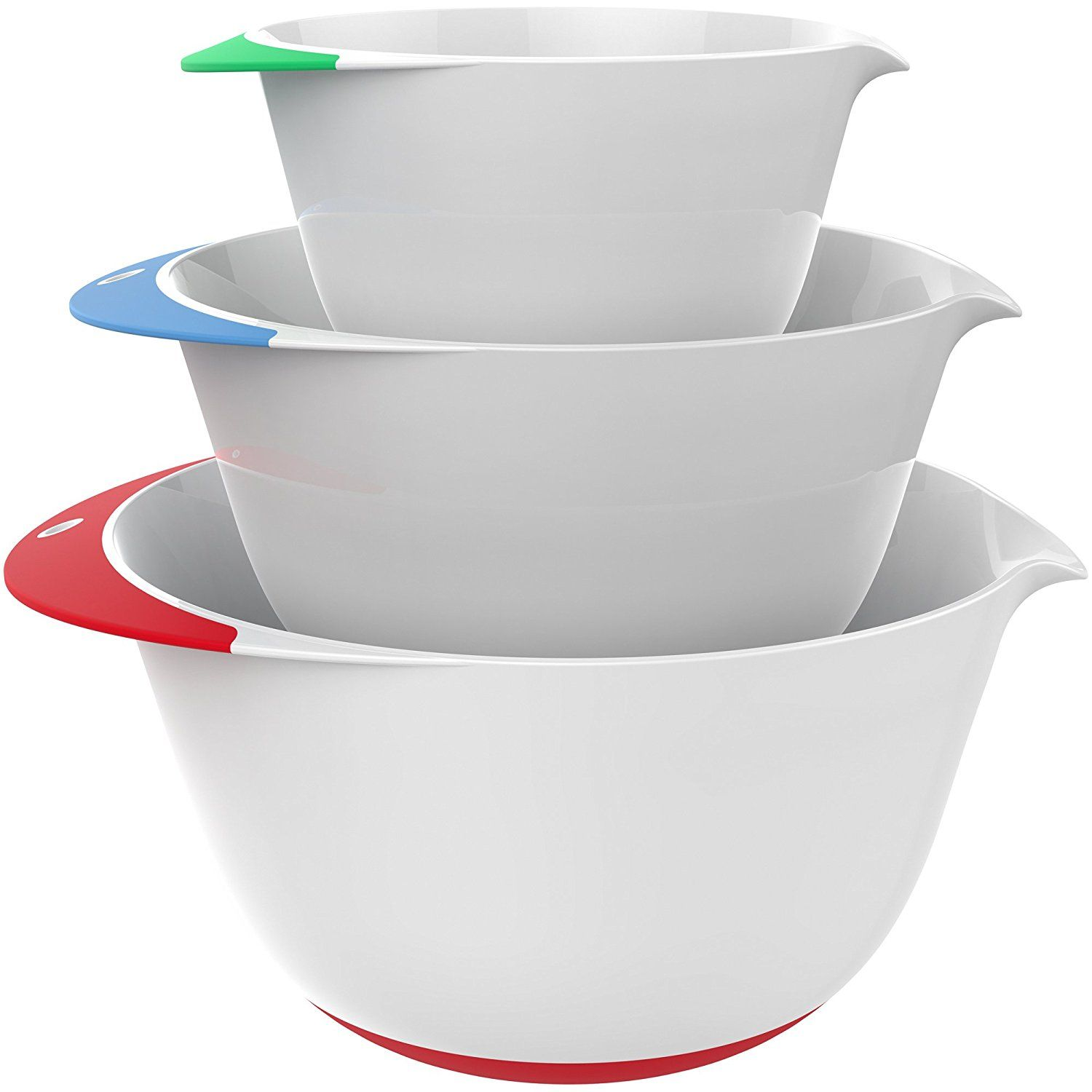 Amazon Com Vremi 3 Piece Plastic Mixing Bowl Set Nesting Mixing Bowls With Rubber Grip Handles Easy Pour Spout And Non Slip Bottom Three Sizes Small Cozinha