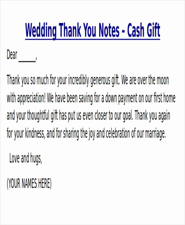 Wedding Thank You Note Template Beautiful Sample Thank You