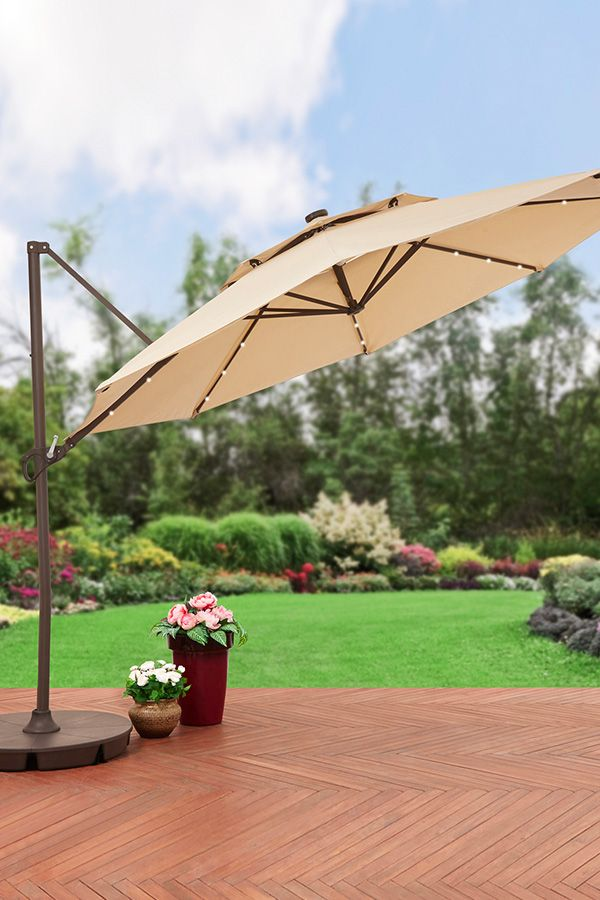 Cantilever Umbrella Tan Offset Pre Lit 11 Ft Patio With Base: All The Best Patio Decor At The Best Value. At Walmart.com