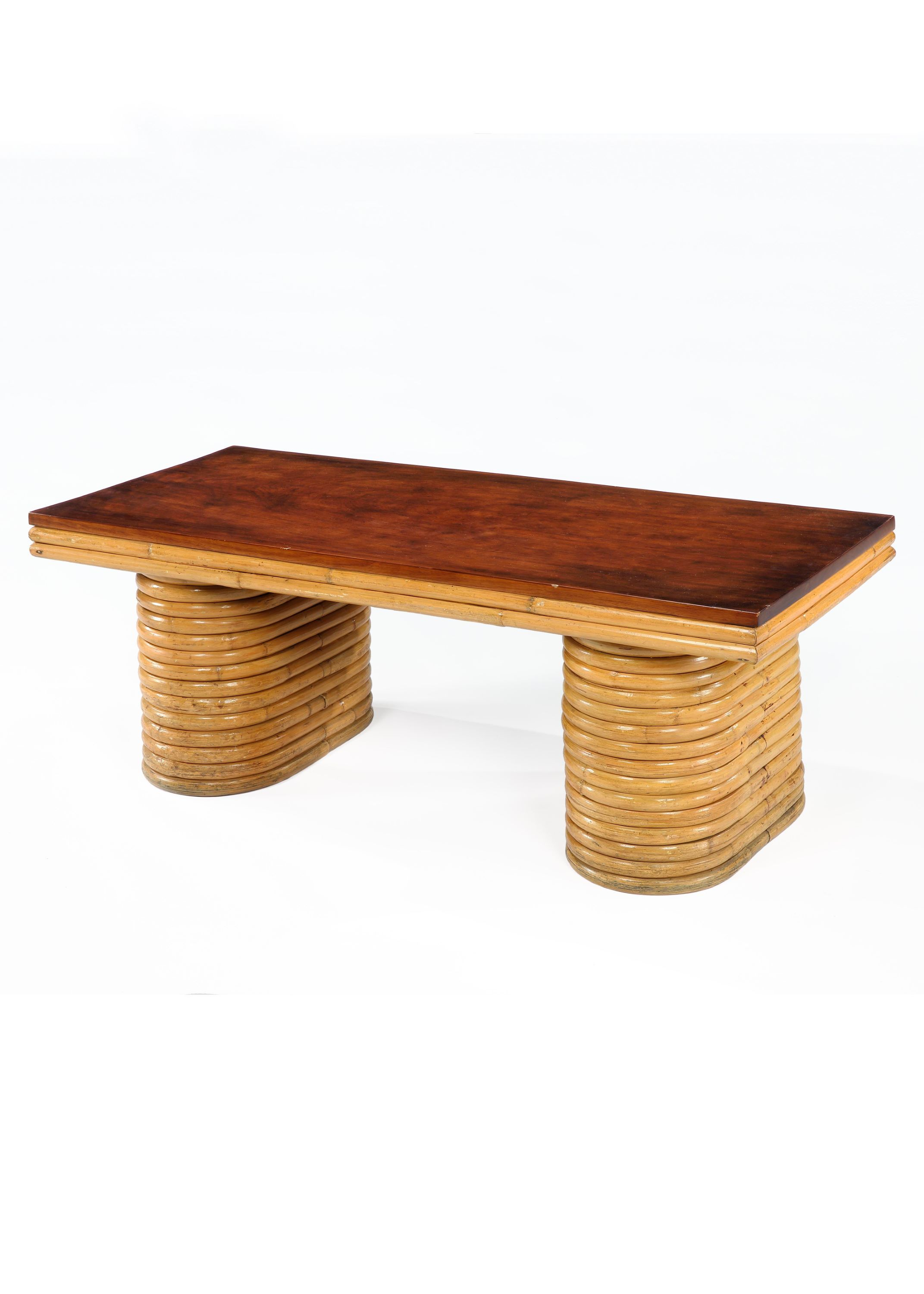 Bamboo & Mahogany Coffee Table by Paul Frankl