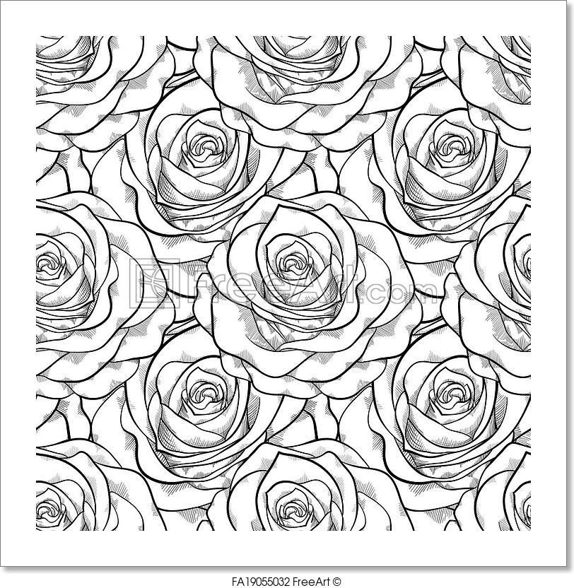 Free Art Print Of Beautiful Black And White Seamless Rose