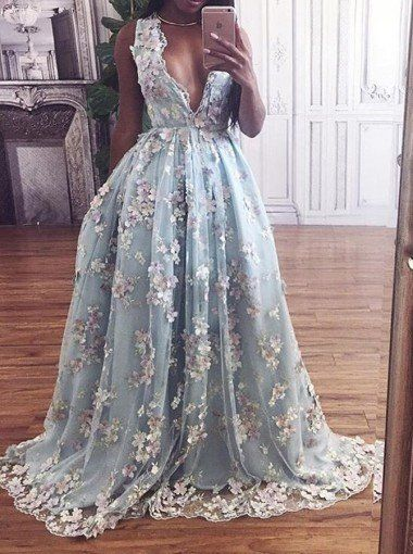 Hot Selling Deep V-neck Light Sky Blue Prom Dress with Flowers PM547 d46f8b01e