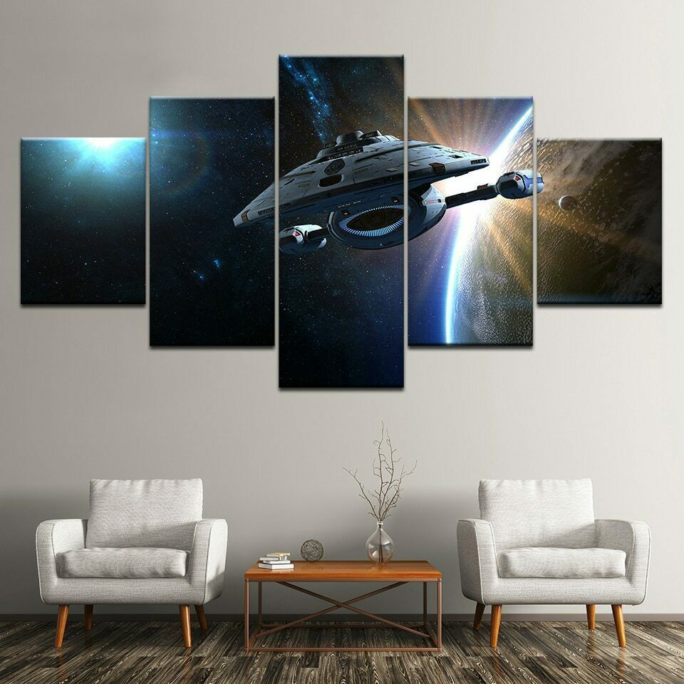 5 Panel Framed Star Trek Voyager Modern Decor Wall Art Canvas Hd Print Fashion Home Garden Homedcor Picture Room Decor Modern Wall Decor Art Mural Design