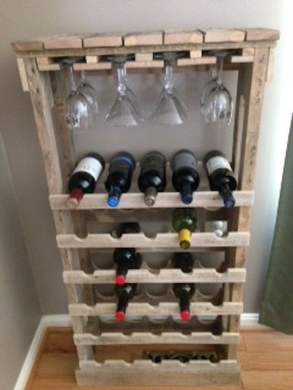 Free standing pallet wine rack by theinspiredpallet on for Meuble porte bouteille vin