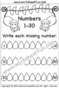 missing numbers 1 30 one worksheet kindergarten worksheets free kindergarten worksheets. Black Bedroom Furniture Sets. Home Design Ideas