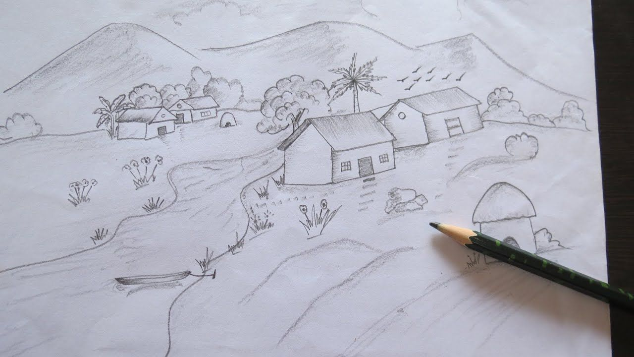 Easy Pencil Sketch Landscape Scenery Easy Drawing Beginner Beginner Drawin Easy Pencil In 2020 Drawing For Beginners Easy Drawings Pencil Sketches Landscape
