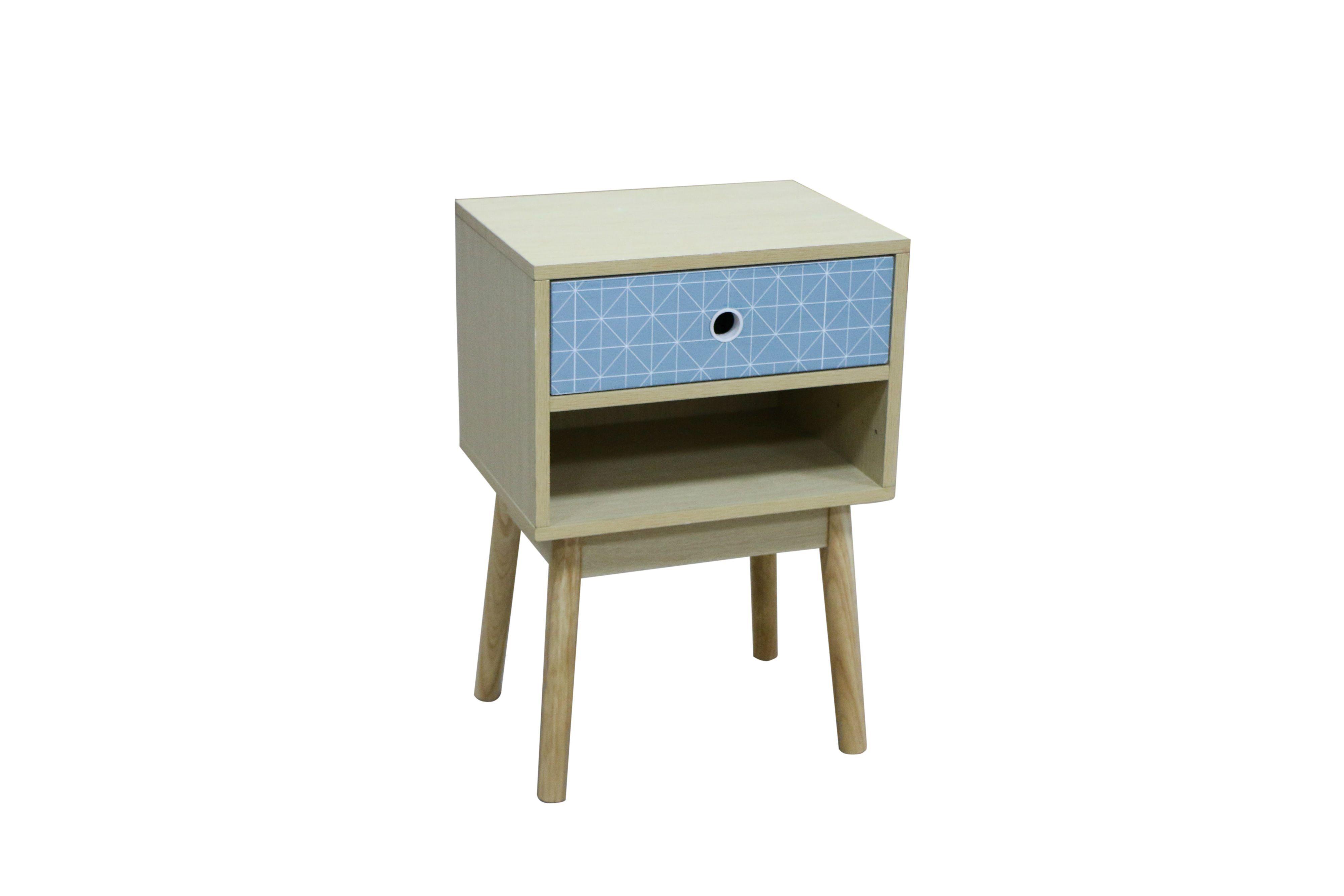 Chevet 1 tiroir 1 niche MILA BLUE | Nid Douillet | Chevet ...