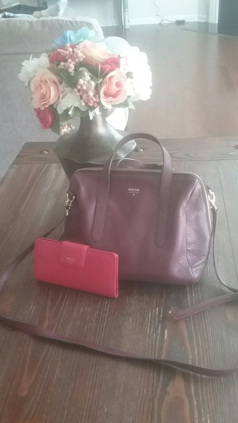 Fossil Sydney Satchel In Maroon With Wallet Common Shopping Idealist Silver Es4194