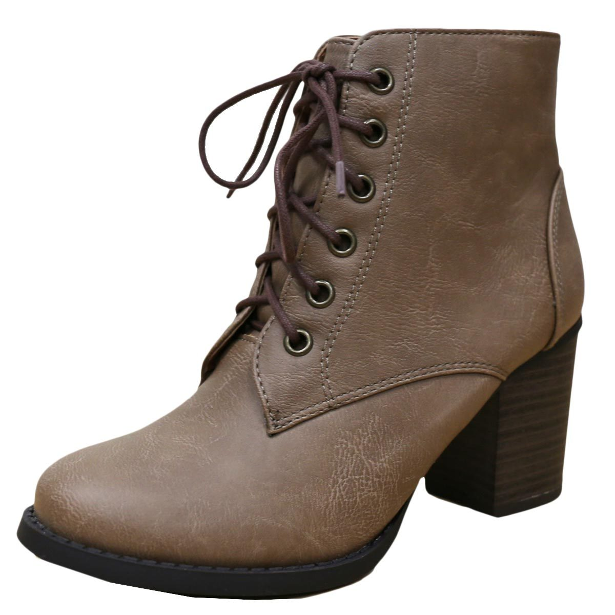 047a6a43cc03 Cambridge select women s zipper lace up chunky heel ankle bootie