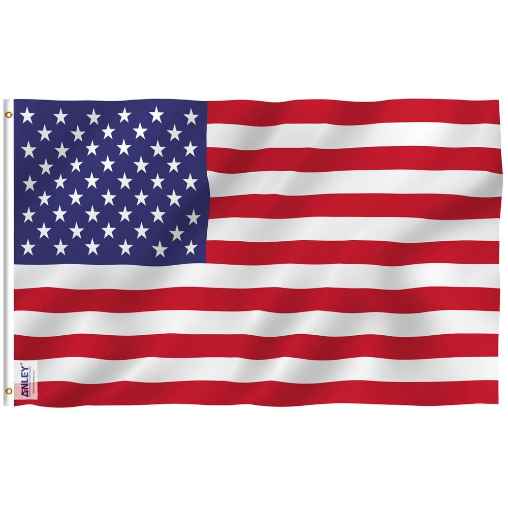 ANLEY Fly Breeze 4 ft. x 6 ft. Polyester USA American United States Flag 2-Sided Banner with Brass Grommets and Canvas Header A.FLAG.US.4X6FT - The Home Depot