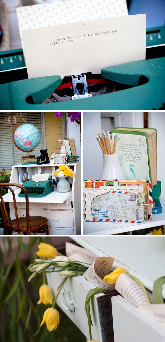 letters to the bride/groom, stuff into the drawers of a vintage desk as sign-in!