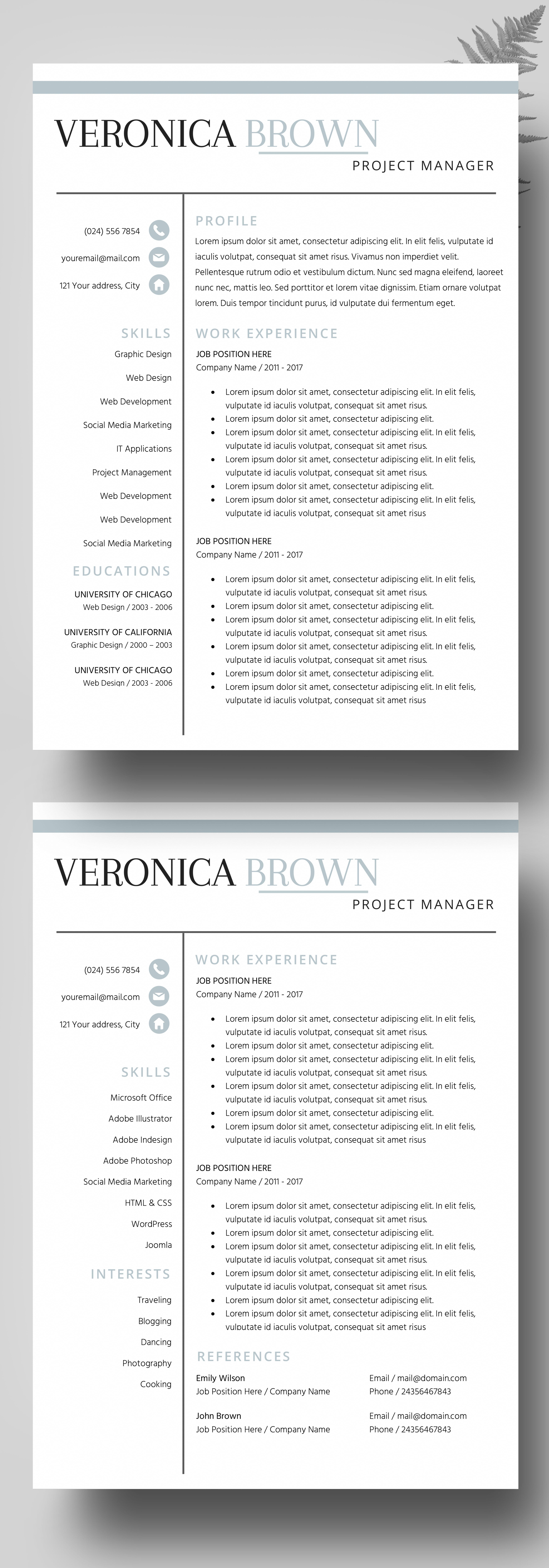 Resume Instant Download, Resume Templates Creative Resume Design ...