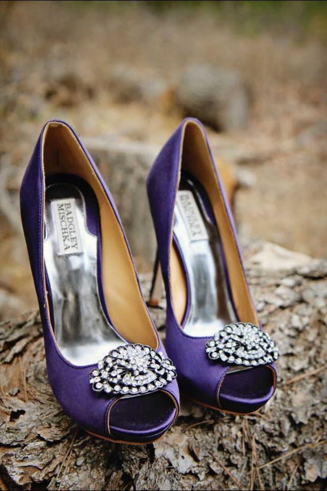 Badgley Mischka purple wedding shoes