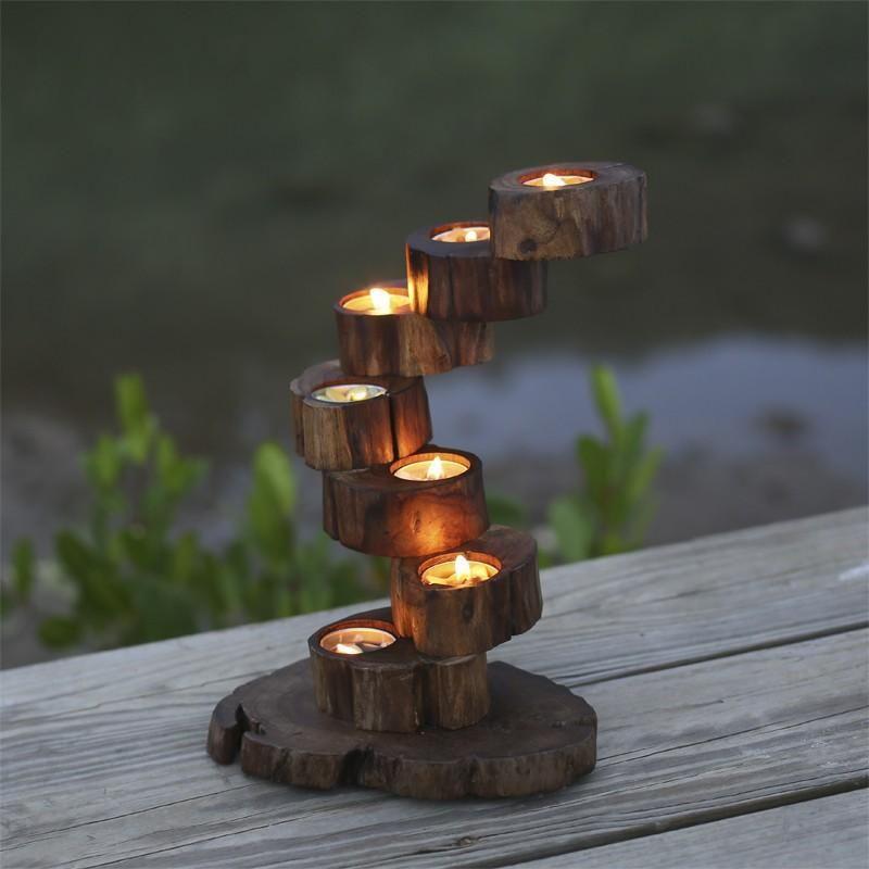 Vintage Teak Candle Holder Tall Tea Light Candlestick Holder