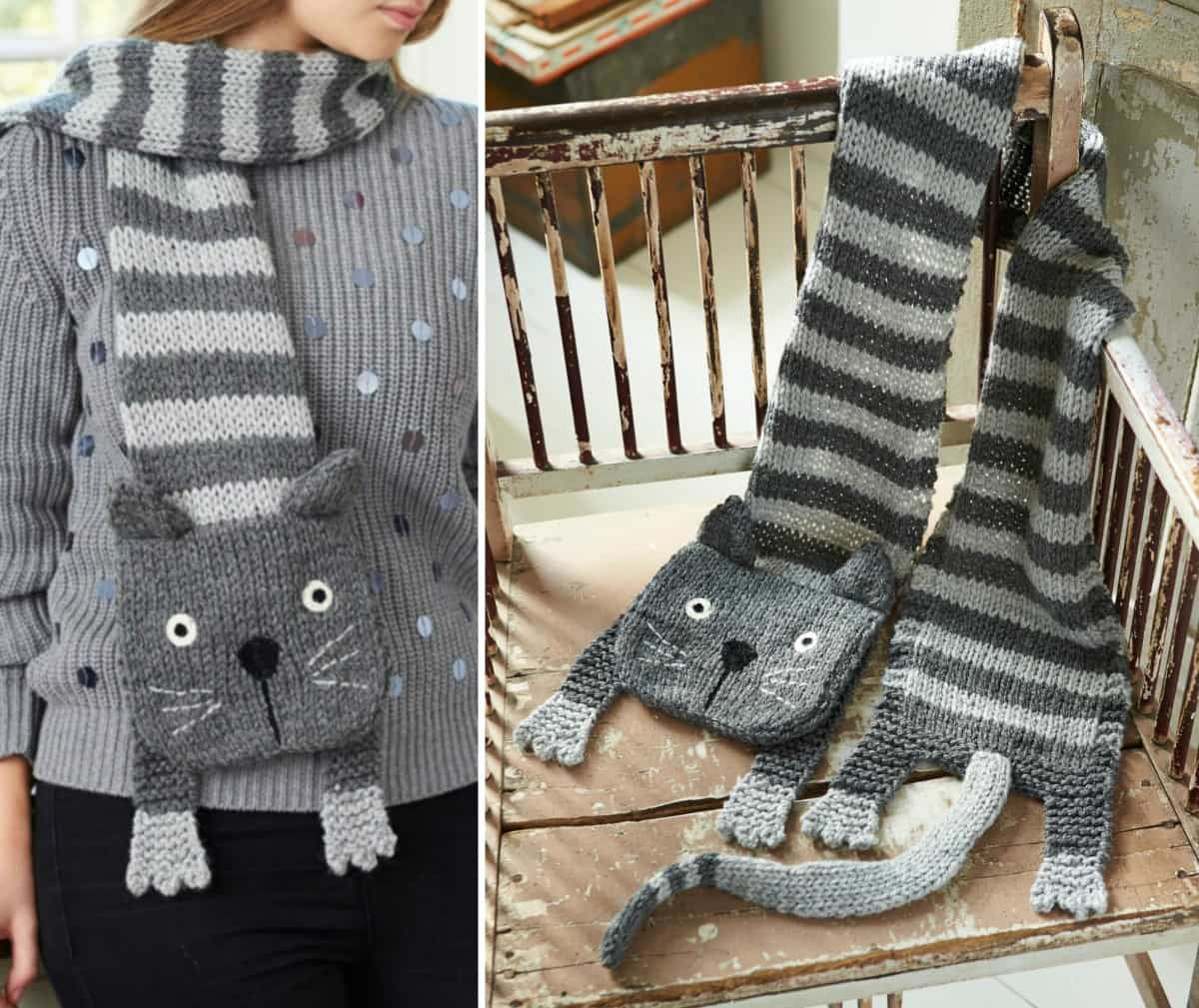 Knitted Cat Scarf Pattern Free Video Tutorial | Cat scarf, Scarf ...