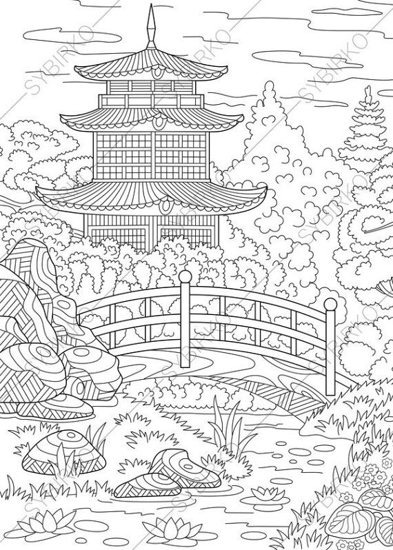 Coloring Pages Of Asian Pagoda Zentangle Doodle Coloring Book Coloring Books Stress Coloring Book Anti Stress Coloring Book