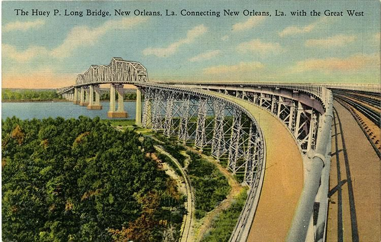 MAGNET TRAVEL Post Card Photo Magnet Louisiana State Capitol Huey P Long Bridge