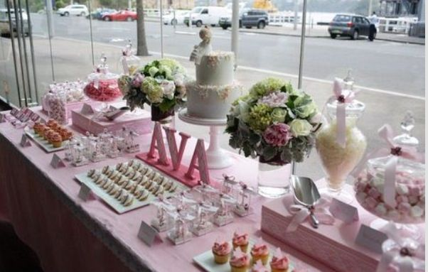 Pin By Anna Tsatoke On Dessert And Candy Table Ideas First Communion Party Communion Party Christening Dessert Table