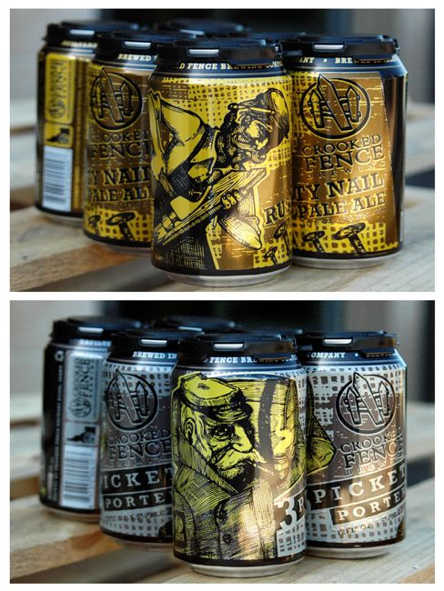 Packaging of the World: Creative Package Design Archive and Gallery: Crooked Fence Brewing Co. Beer Cans