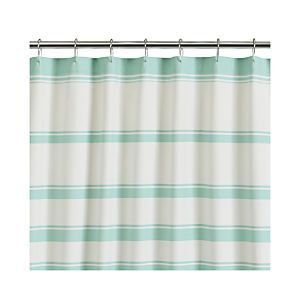 Hampton Stripe Seafoam Shower Curtain Green Shower Curtains