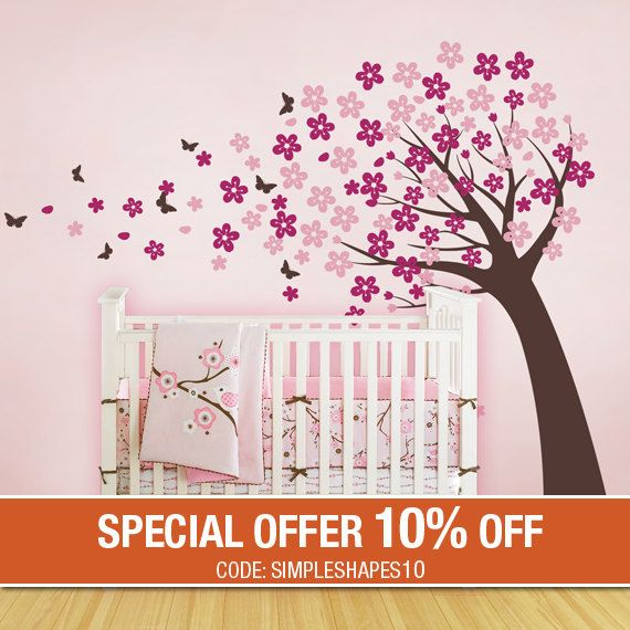 Cherry Blossom Tree With Butterflies Vinyl Wall Decals Etsy In 2021 Cherry Blossom Tree Blossom Trees Baby Nursery Wall Decals