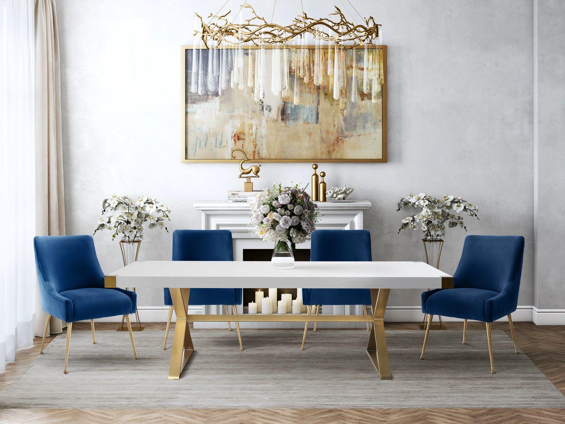Tov Furniture Modern Adeline White Gold Rectangular Dining Table