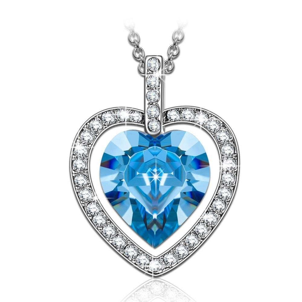 RJewellery Necklace Jewellery Gift for Women Mum Girlfriend Sterling Silver Chain Pendant Timeless Love (Blue Heart) DZD0e