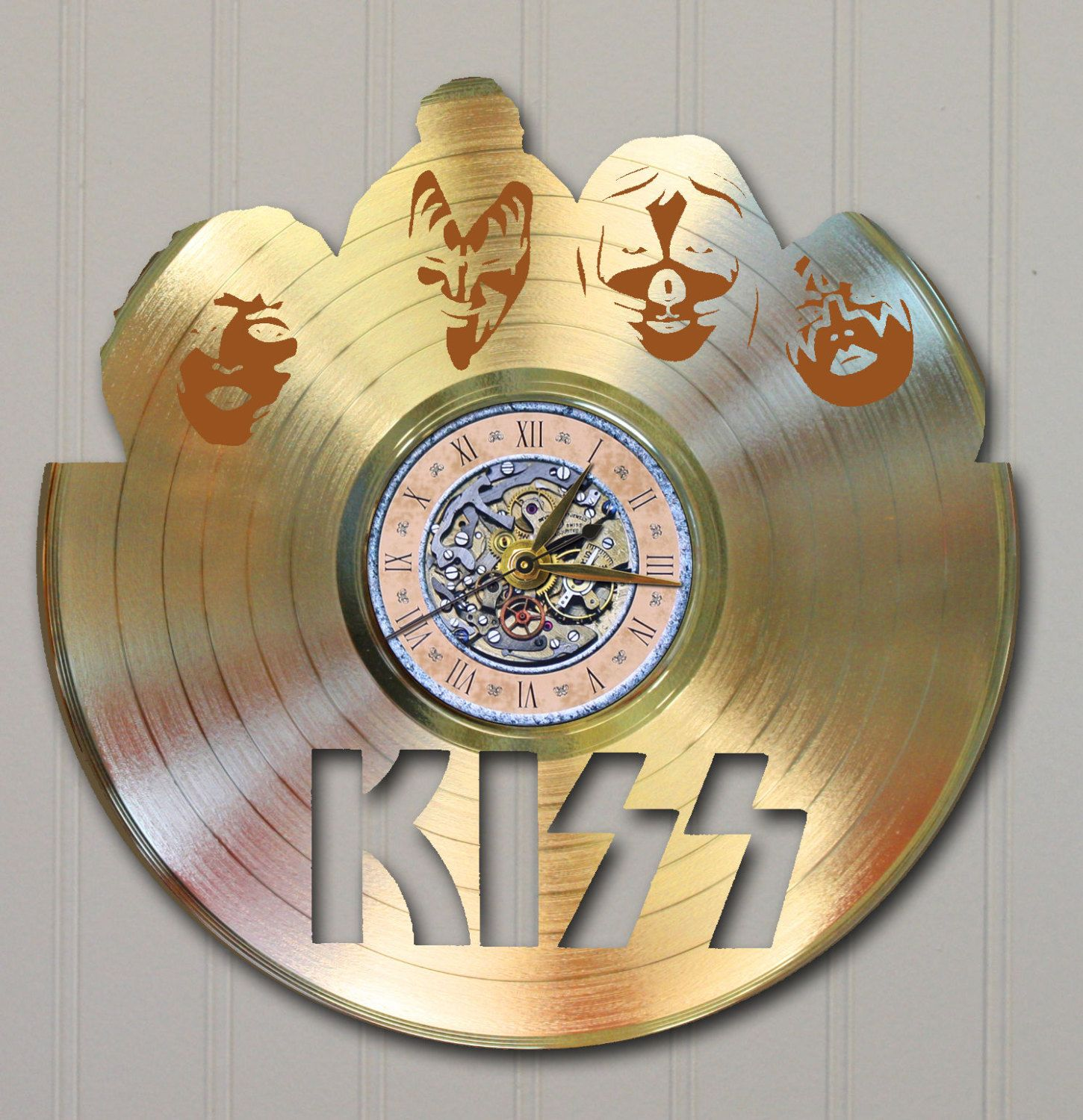 kiss rock roll laser etched gold vinyl lp record on wall clocks battery operated id=43187