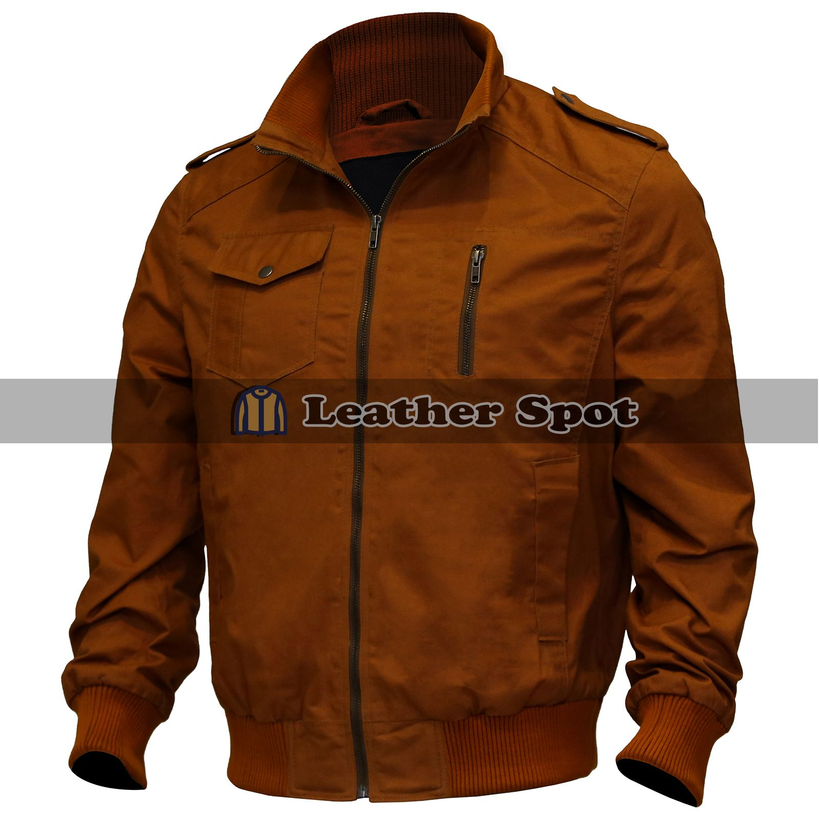 Mens Brown Military Jacket Field Army Bomber Jacket (With