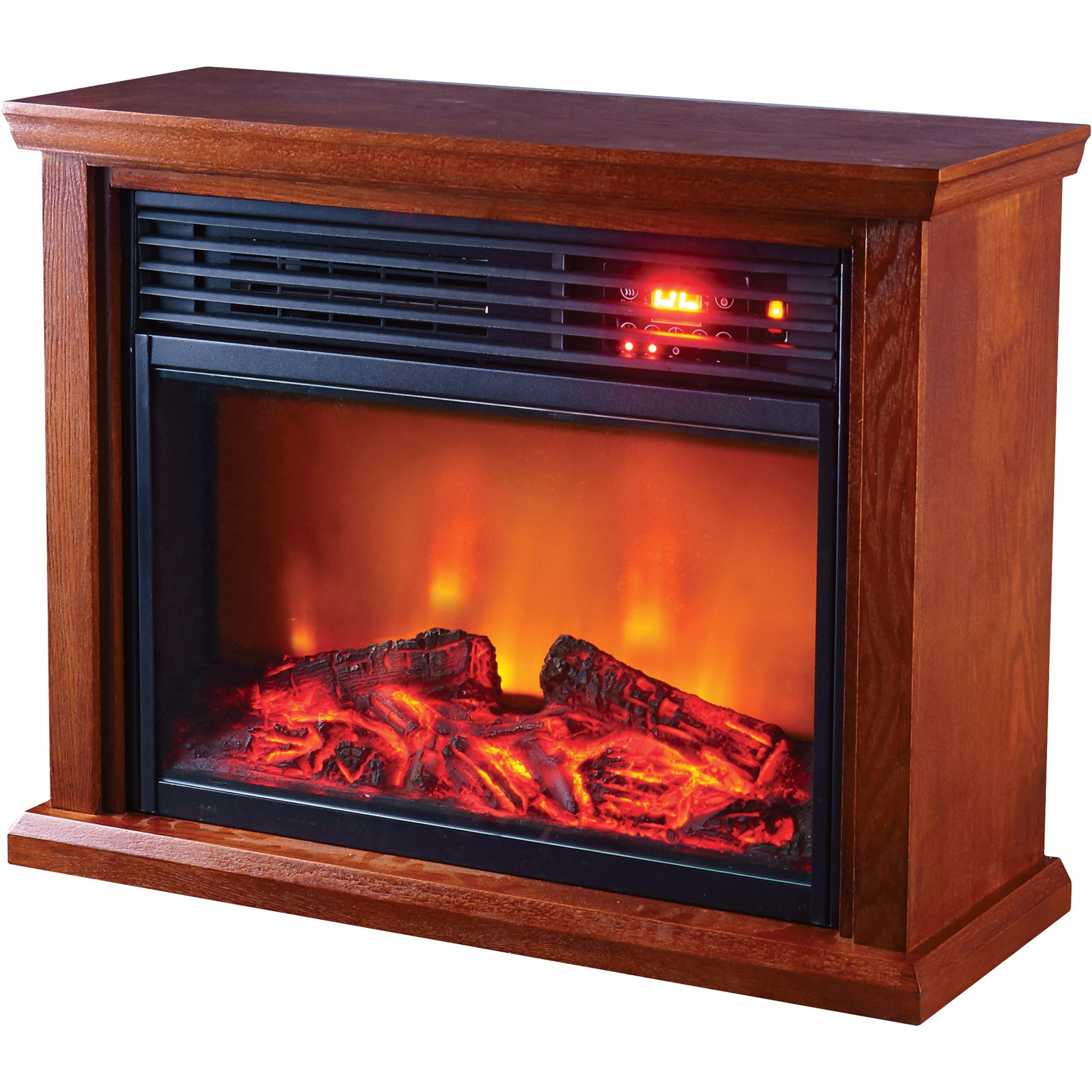 This ProFusion Heat Infrared Electric Fireplace puts soothing infrared heat in a handsome wooden cabinet. No costly installation or venting is required. Plugs into standard household outlet. With three infrared quartz tubes
