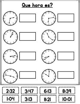 Que hora es? Spanish Telling Time | Math | Telling Time, Literacy ...