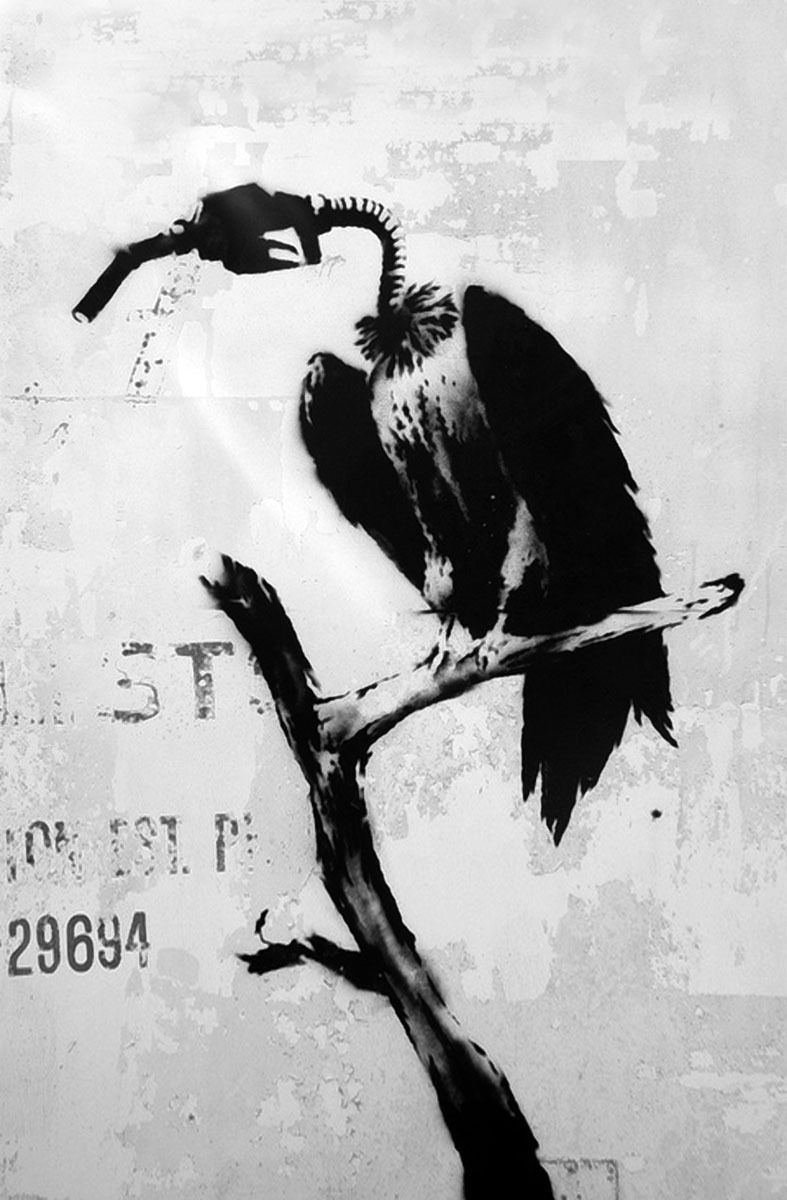 streer art by Banksy .  Gas bird 000