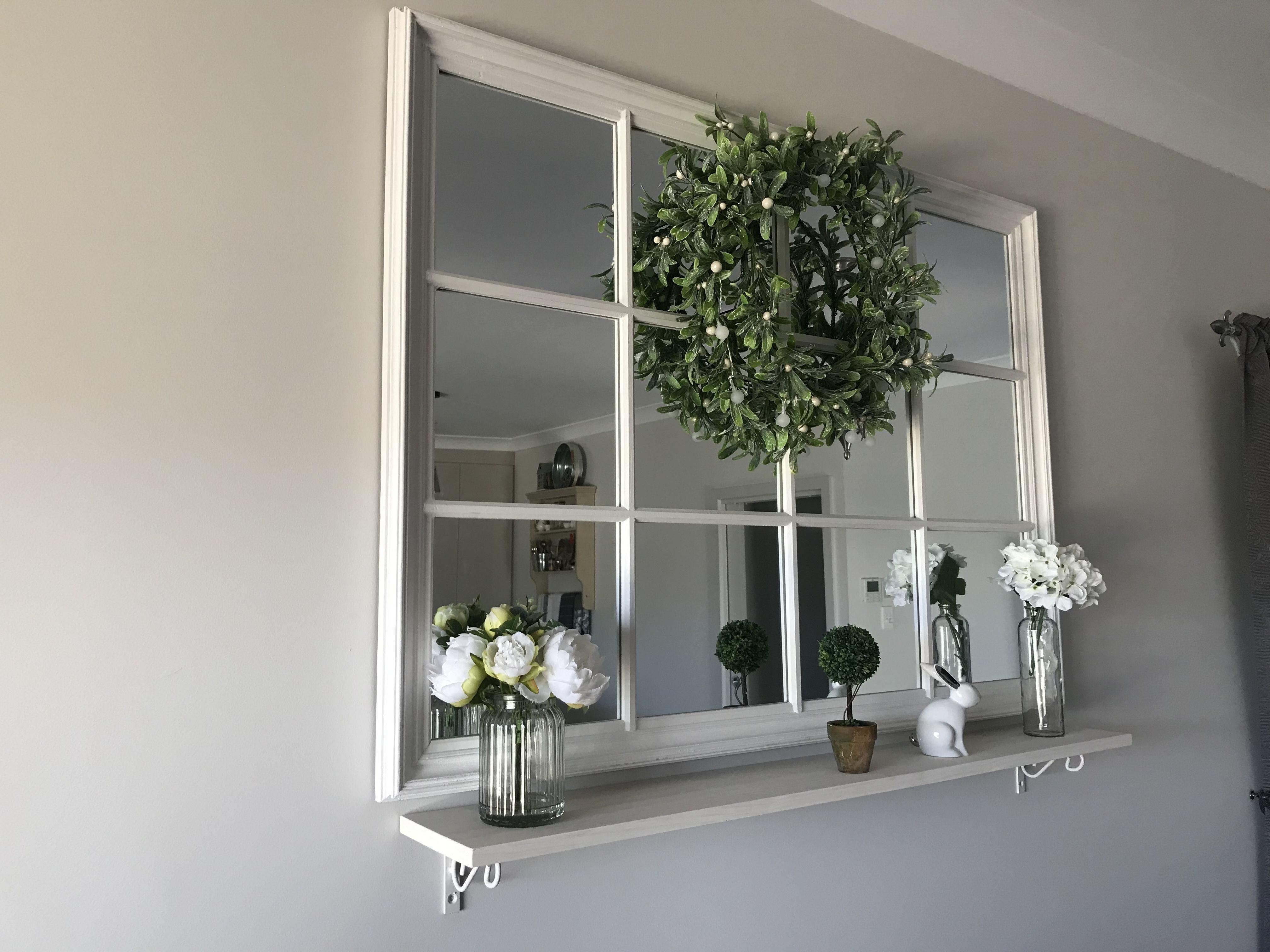 Added A Shelf Under Window Pane Mirror Mirror Dining Room