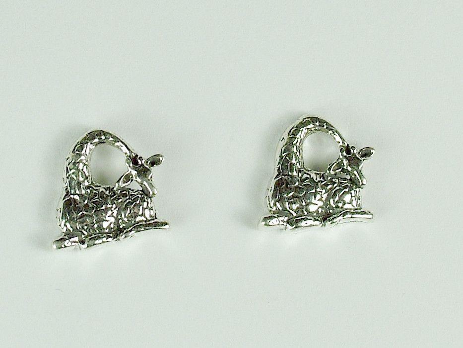c0a4a9db3 Sterling Silver & Surgical Steel resting giraffe stud earrings-giraffes ,ungulate