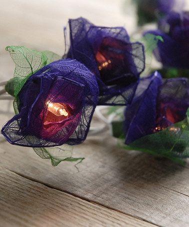 Look at this #zulilyfind! Purple Bodhi Leaf Rose Light String #zulilyfinds